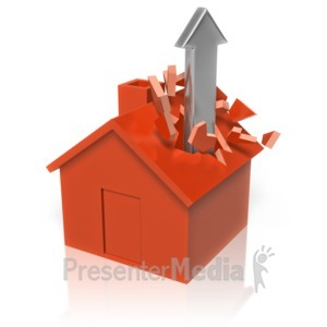 ID# 13437 - Arrow Though The Roof - Presentation Clipart
