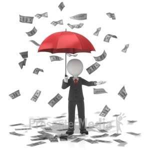 ID# 13444 - Business Figure Money Falling - Presentation Clipart