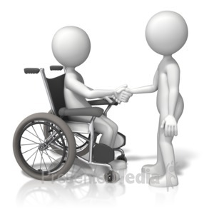 ID# 13452 - Wheelchair Shake Hands - Presentation Clipart