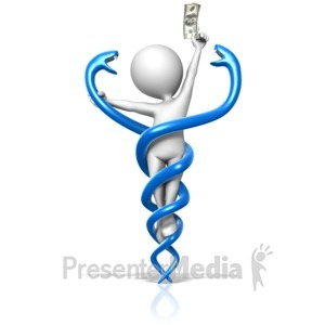 ID# 13468 - Figure Trapped By Medical Caduceus - Presentation Clipart