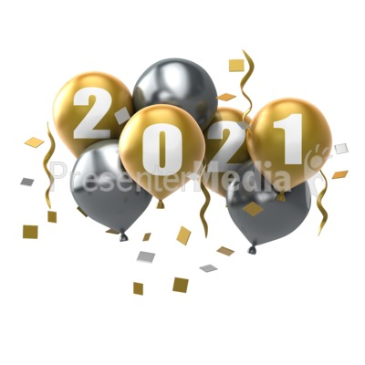 Custom Year Balloons PowerPoint Clip Art