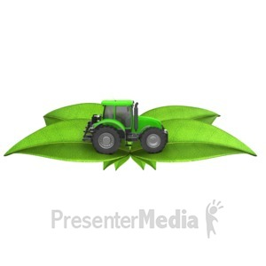 ID# 13547 - Tractor On Green Leafs - Presentation Clipart