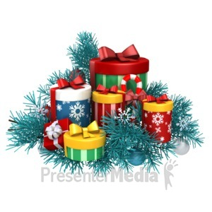 ID# 13574 - Gifts Christmas Pine - Presentation Clipart