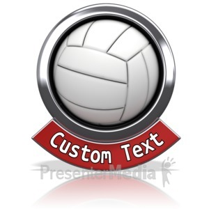 ID# 13597 - Volleyball Chrome Banner - Presentation Clipart