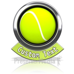 ID# 13598 - Tennisball Chrome Banner - Presentation Clipart