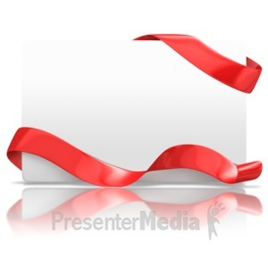 ID# 13600 - Blank Holiday Card Ribbon - Presentation Clipart