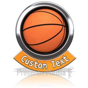ID# 13601 - Basketball Chrome Banner - Presentation Clipart