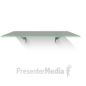 ID# 13631 - Single Glass Shelf Wall - Presentation Clipart