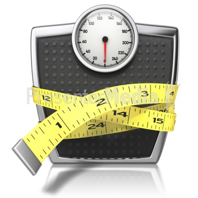 Scale With Tape Measure PowerPoint Clip Art