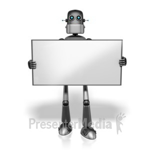 ID# 13667 - Retro Robot Holding Sign - Presentation Clipart