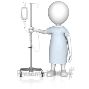 ID# 13874 - Patient Figure With IV Bag - Presentation Clipart