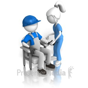 ID# 13885 - Inspecting Construction Worker - Presentation Clipart