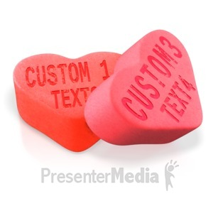 ID# 13892 - Two Candy Hearts - Presentation Clipart