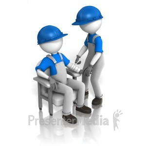 ID# 13893 - Worker Bandaging Worker - Presentation Clipart