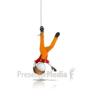 ID# 13894 - Worker Tangled Hanging Upside Down - Presentation Clipart