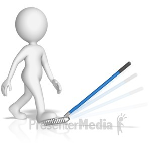 ID# 13914 - Figure Stepping On a Rake - Presentation Clipart
