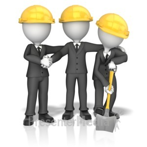 ID# 13934 - Business Figures Breaking Ground - Presentation Clipart