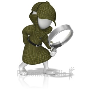 ID# 13944 - Detective With Magnifying Glass - Presentation Clipart