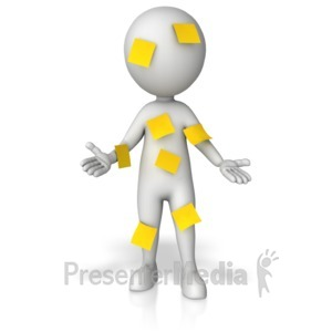 ID# 13951 - Figure Covered In Blank Notes - Presentation Clipart