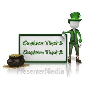 ID# 13997 - Leprechan With Custom Text Sign - Presentation Clipart