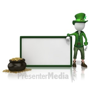ID# 14036 - Leprechan With Sign - Presentation Clipart