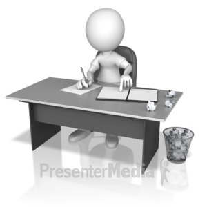 ID# 14081 - Figure Writing Drafts At Desk - Presentation Clipart