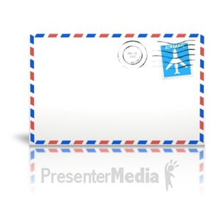 ID# 14084 - Letter Airmail Cancelled Stamp - Presentation Clipart