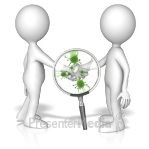 ID# 14135 - Magnified Germ Handshake - Presentation Clipart