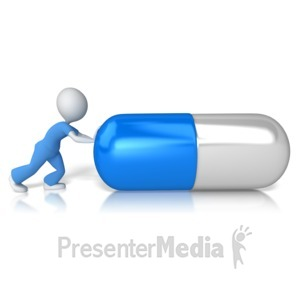 ID# 14162 - Nurse or Doctor Figure Pushing Pill - Presentation Clipart