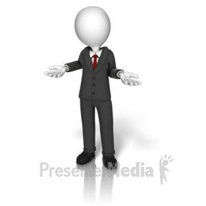 ID# 14225 - Business Suit Shrugging - Presentation Clipart