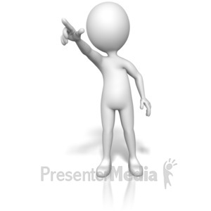 ID# 14242 - Figure Pointing Out Front - Presentation Clipart