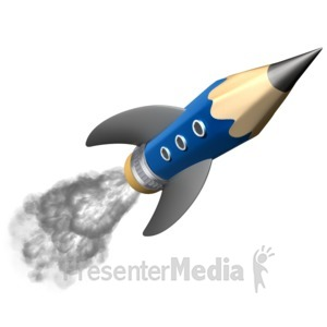 ID# 14277 - Pencil Education Rocket - Presentation Clipart