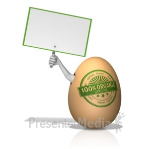 ID# 14283 - Organic Egg with Arm Holding Sign - Presentation Clipart