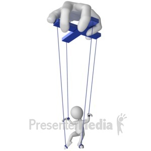 ID# 14285 - Hand Controlling Puppet Figure - Presentation Clipart