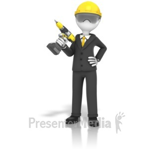 ID# 14314 - Construction Business Cordless Drill - Presentation Clipart