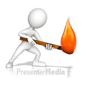 ID# 14347 - Figure With Matchstick - Presentation Clipart