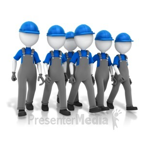 ID# 14370 - Construction Crew Walking - Presentation Clipart