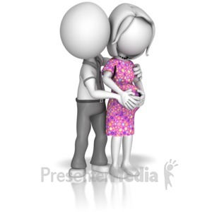 ID# 14390 - Man Holding Pregnant Woman - Presentation Clipart