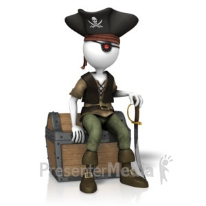 ID# 14412 - Pirate Sitting On Treasure - Presentation Clipart