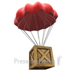 ID# 14427 - Open Parachute Crate - Presentation Clipart