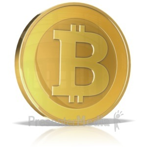 ID# 14440 - Single Bitcoin - Presentation Clipart
