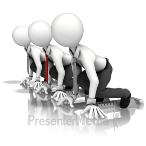 ID# 14444 - Business Men Race - Presentation Clipart