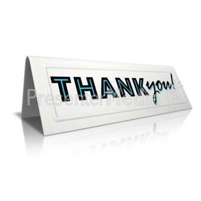 Beveled Card Thank You PowerPoint Clip Art