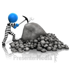 ID# 14526 - Inmate Breaking Rocks - Presentation Clipart