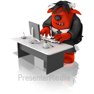 ID# 14580 - Monster Employee Working On Computer - Presentation Clipart