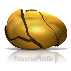 ID# 14591 - Broken Golden Egg - Presentation Clipart