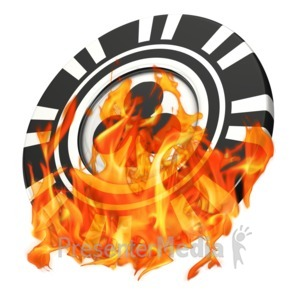 ID# 14655 - Gambling Poker Chip On Fire - Presentation Clipart