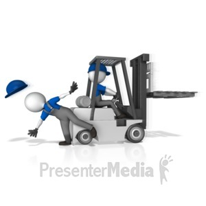 ID# 14742 - Forklift Hit Worker - Presentation Clipart
