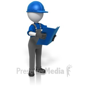 ID# 14776 - Construction Worker Reading Manual  - Presentation Clipart