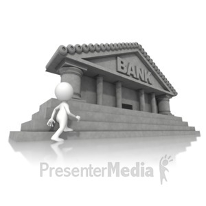 ID# 14822 - Walking Towards Bank - Presentation Clipart